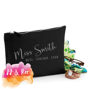 Personalised Teacher Thank You Gift: Accessory Bag/Pencil Case Best Teacher Ever