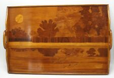 Holzintarsien Tablett sig. Gallé, Landschaftsdarstellung mit Enten - 18178 –