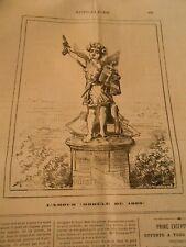 Caricature 1880 - L'Amour Statue d'enfant avec un Révolver