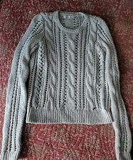 ABERCROMBIE & FITCH Sweater M Cable Knit Crew Neck Oatmeal Beige
