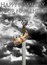 sword crown Game Of Thrones Happy Birthday A5 Personalised card pid722 TV