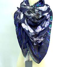 NWT $525 ALEXANDER MCQUEEN Metamorphosis Kaleidoscope Blue Butterfly Silk Scarf