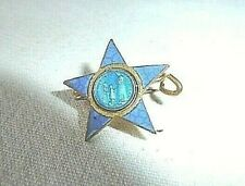 Ancienne Petite Broche Religieuse Etoile bleu