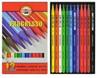 12 COLOURED PROGRESSO KOH I NOOR PASTEL BLENDABLE WOODLESS COLOUR ARTIST PENCILS