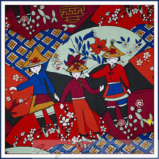 BonEful Fabric FQ Cotton Quilt VTG Red Asian Flower China Doll Oriental GIRL Fan