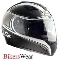 HJC IS-16 SENTRY Full Face Black/White Crash Helmet With in built Sun Visor