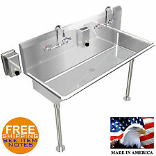 Hand Sink Industrial 2 Person 40 Heavy Duty Basin Stainless Steel Made In Usa