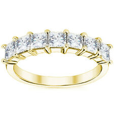 Wedding Band Ring 14k Yellow Gold 1.05ct Square Brilliant Cut Moissanite 7 Stone