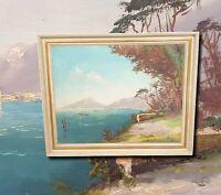 Italienische Küstenansicht Golf von Sorrent. Original Ölgemälde Monogrammiert