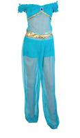 Princess Jasmine fancy dress,Aladdin Blue Belly dance Costume 6,8,10,12