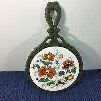 Vintage Cast Iron Ceramic Tile Floral Flowers Scalloped Trivet Hot Plate Orient