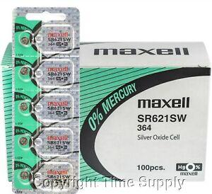 100 maxell 364 SR621SW SR621 28034 LR621 AG1 Battery