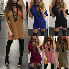 UK Women Choker V Neck Casual Loose Tops T-shirt Lace-up Plunge Mini Party Dress Army Green L