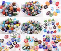 20/50 Mixed Millefiori Glass Loose Spacer Beads Charm Finding 4/6/8/10/12/13mm