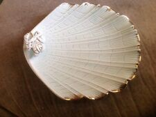 Vintage National Potteries Green Shell W/Gold Trim