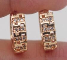 Maze Hollow Pageant Women Hoop Earrings 18K Gold Filled - Clear Topaz Symmetry