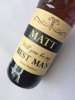 Personalised Wedding Will You Best Man, Usher, Kraft Wine, Beer Bottle Label
