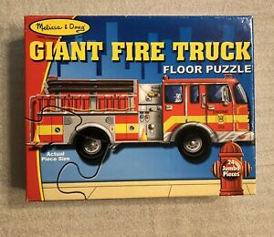 MELISSA & DOUG Giant Fire Truck Floor Puzzle, 24piece (4Feet long), EUC