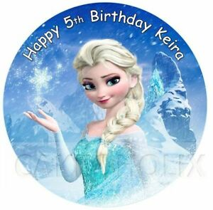 Disney Frozen Elsa Edible Birthday Cake Topper With Your Personalised Message