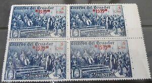 Ecuador 1939 5 Ctvs Specimen Block of Four    Mint
