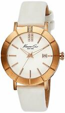 Kenneth Cole New York KC2743 Rose Gold Case White Leather Band Womens Watch Date