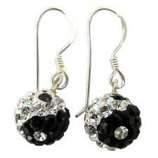 Sterling Silver (925)  Ying Yang Disco Ball Dangly  Earrings  !!       New  !!