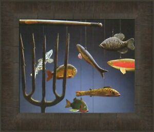 ICE SPEARING DECOYS Fishing Lures Collector Antique Zoellick 11 Cabin FRAMED ART