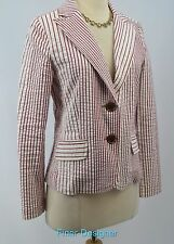 CAbi Captains Nautical Red Seersucker Blazer suit Jacket light coat # 391 4 NEW