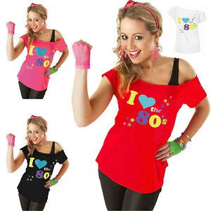 Womens I Love The 80s T-Shirt Outfit Ladies Pop Star Retro Top Fancy Dress 8-22