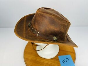 Mens Red-Brown Genuine Leather Cowboy Western Hat w/Chin-Strap  (S) Small