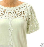 Anthropologie Lace Topped Tee XSmall 0 2 Light Green Cotton Grosgrain Trim Top