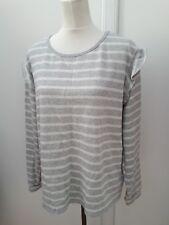 Matalan Ladies Size 18 Silver Glitter White Stripe Jumper Knit Curve Fashion