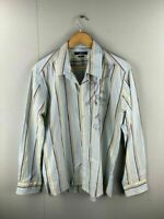 JAG Mens Blue Yellow Striped Long Sleeve Shirt With Graphic Size Large