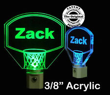 "Personalized  Basketball Hoop LED Night Light, Kids Lamp 3/8"" Acrylc"
