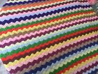 HANDMADE CROCHET BRIGHT MULTI COLOR STRIPED AFGHAN LARGE THROW  BLANKET