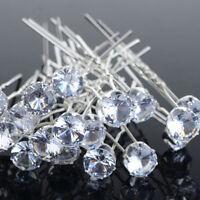 20Pcs Clear Crystal Rhinestone Diamante Wedding Bridal Prom Hair Pins Set