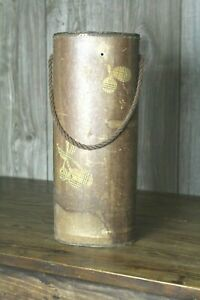 Rustic Primitive Style Wood and Paper Canister Flower Vase Farm House Decor