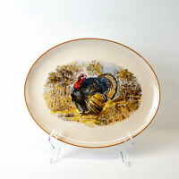 "Thanksgiving Turkey Print 13"" Oval Platter Plate | Vintage"