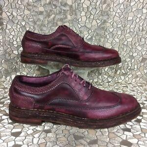 rare COLE HAAN COREY Crimson Jute Crepe Leather Brogue Wingtip Oxford 11