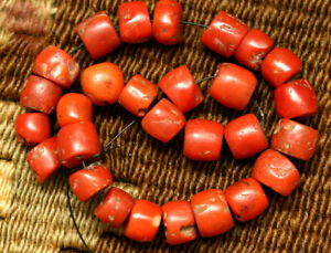 ANCIENT RED CORAL BEADS / NECKLACE  TIBETAN NATURAL CORAL BEADS