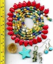 Kokopelli Sterling Zuni Bear Beads African Sandcast Lizard Pendant & Earrings