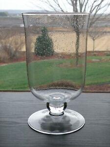"Partylite COASTAL LIGHTS Hurricane Seeded Glass 11""  Candle Holder Vase P9359"