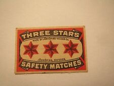 Three Stars Safety matches-made by Jönköping-Vulcan Co./streichholzetikett