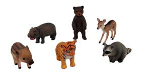 Tomy Ania lot of 6 baby animals Deer Tiger Hippo Bear Raccoon Warthog