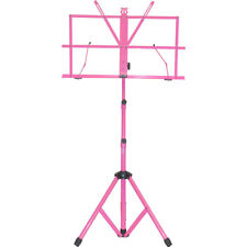 New Adjustable Strong Folding Sheet Music Stand w Carrying Bag-Hot Pink