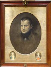 Fine Large 19th siècle Portrait de Napoléon Bonaparte ANTIQUE PEINTURE à l'huile