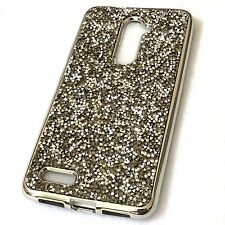 ZTE ZMAX PRO / MAX DUO 4G - HARD RUBBER CASE GRAY / SILVER CRYSTAL DIAMOND STUDS