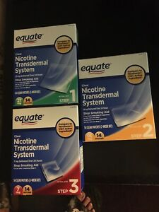 Equate 3 Step Clear Nicotine Transdermal System New 3 Boxes