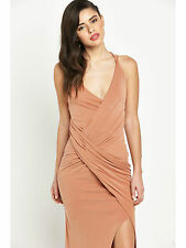 LIPSY NUDE STRAPPY MAXI DRESS RUCHED WITH FRONT SPLT SIZE UK14 EU42 US10  RRP£90