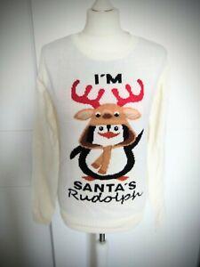 Weihnachtspullover Gr.46 Weihnachtspulli Pinguin Weihnachten Pullover creme NEU